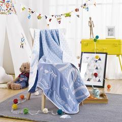 纯棉6层提花盖毯 婴童夏被 空调毯 夏凉被 儿童毯子 110*110 蓝色