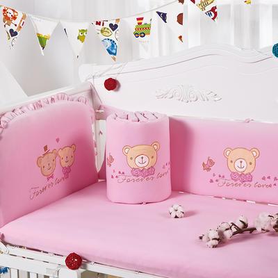凯芙兰 床上用品儿童四件套全棉针织纯棉床围婴幼儿用品 招代理 60*120cm 爱心之旅-粉色