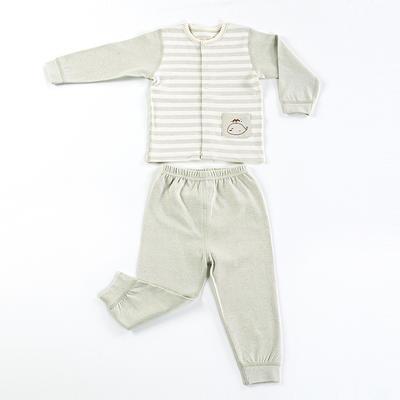 彩棉印花对襟套装(小鲸鱼)纯棉全棉婴童衣裤内衣套装 100# 绿色
