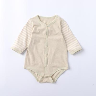 纯棉婴儿爬爬服彩棉前门襟爬衣 包屁衣免费招代理 73码 绿色