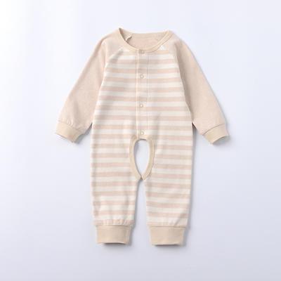 新生儿有机彩棉连体衣 长袖挖档爬服 免费招代理 59码 棕色
