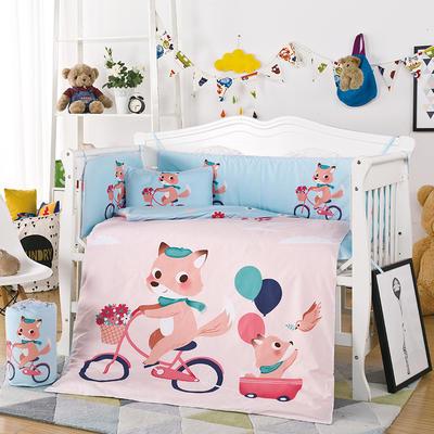 凯芙兰 新品儿童印花大版卡通多件套床围四件套床品一件代发 55*100(三件套) 单车狐狸