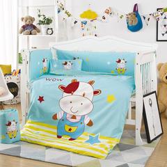 凯芙兰 新品儿童印花大版卡通多件套床围四件套床品一件代发 55*100(三件套) 哇,牛仔