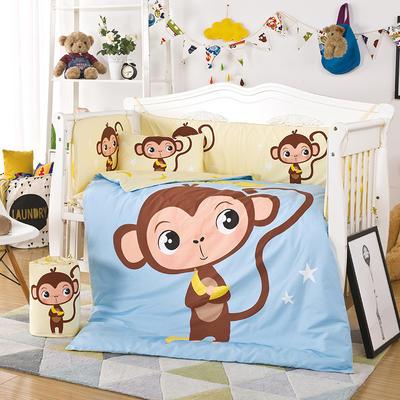 凯芙兰 新品儿童印花大版卡通多件套床围四件套床品一件代发 65*110(六件套)薄款 香蕉猴