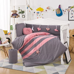 新款上市凯芙兰水洗棉多件套 床围四件套床品多件套可定制 55*100三件套 心情日记(灰+粉)
