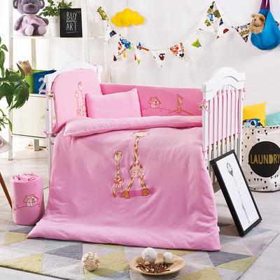 凯芙兰宝宝床上用品针织全棉多件套 婴幼儿全棉透气被套枕套床品 床围四件套 Love  Home鹿  粉色