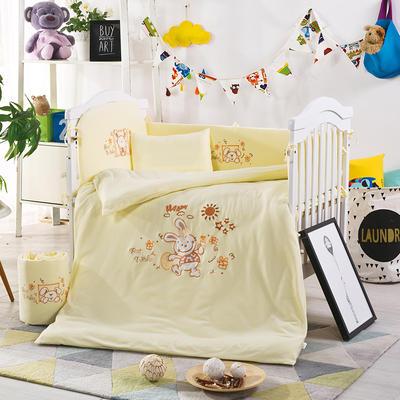凯芙兰宝宝床上用品针织全棉多件套 婴幼儿全棉透气被套枕套床品 床围四件套 Happy 兔 黄色