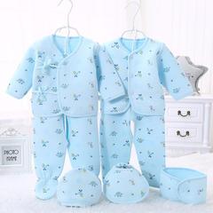 凯芙兰新生儿色底小象保暖7件套 59 湖蓝小象