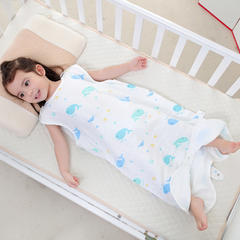 凯芙兰新款宝宝卡通纱布睡袋婴儿薄款分腿睡袋夏季 棒棒糖  m-70cm