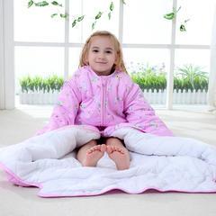 水桶型睡袋 纯棉全棉睡袋可脱胆一年四季可穿 粉色M厚款