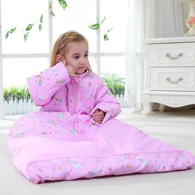 水桶型睡袋 纯棉全棉睡袋可脱胆一年四季可穿 粉色S双胆