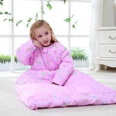 水桶型睡袋 纯棉全棉睡袋可脱胆一年四季可穿 粉色L双胆