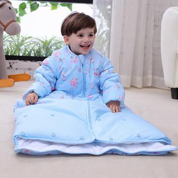 水桶型睡袋 纯棉全棉睡袋可脱胆一年四季可穿 蓝色L双胆