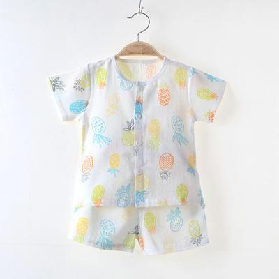 2018夏季新款双层纱布短袖套装宝宝套装布朗熊草莓 73# 菠萝