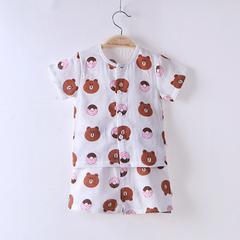 2018夏季新款双层纱布短袖套装宝宝套装布朗熊草莓 80# 布朗熊