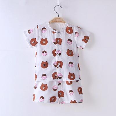 2018夏季新款双层纱布短袖套装宝宝套装布朗熊草莓 73# 布朗熊