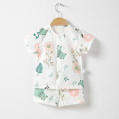 2018夏季新款双层纱布短袖套装宝宝套装布朗熊草莓 73# 花儿与熊