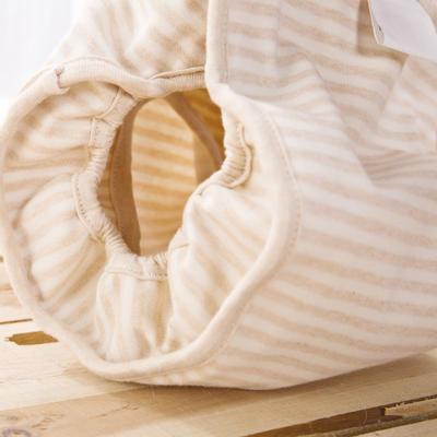 春夏款有机彩棉隔尿裤双面婴儿防水透气面料可洗 S码 米色