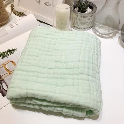 泡泡纱6层纱布纯棉纱布浴巾婴儿盖毯 淡绿