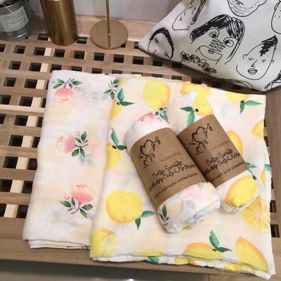 muslin宝宝竹纤维纱布包巾夏季盖毯襁褓巾抱被婴儿被子新生儿用品 柠檬