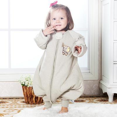 【清仓特价】 彩棉分腿睡袋插肩袖 儿童分腿睡袋 不退不换 80cm长袖夹薄棉(L) 绿鹿