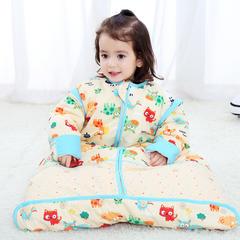 全棉卡通印花可拆袖水桶型睡袋 纯棉全棉睡袋可脱胆一年四季可穿 温馨黄夹棉厚款L