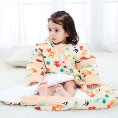凯芙兰新款韩版桶形睡袋全棉可拆袖圆摆睡袋夹棉睡袋小猫 活力橙M薄-80cm