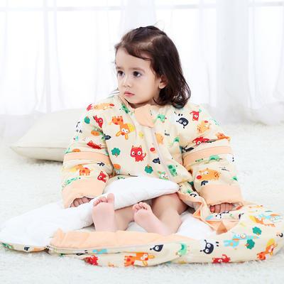 凯芙兰新款韩版桶形睡袋全棉可拆袖圆摆睡袋夹棉睡袋小猫 活力橙L厚-90cm