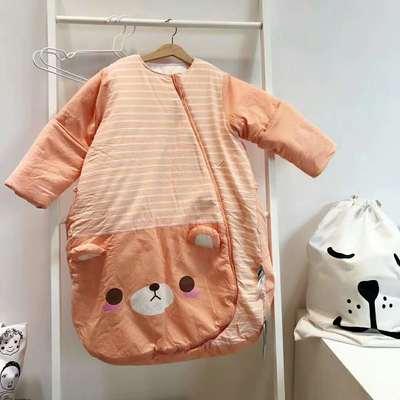 德国恒温婴儿分腿睡袋 儿童防踢被新生儿宝宝睡袋(中厚/加厚) 恒温代理费 桔色小熊