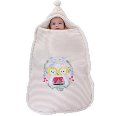 防惊跳羊羔绒睡袋新生儿抱被秋冬彩棉婴儿用品护肚加厚宝宝包被 均码薄 猫咪