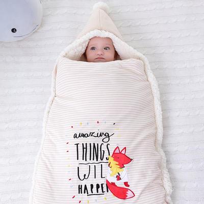 防惊跳羊羔绒睡袋新生儿抱被秋冬彩棉婴儿用品护肚加厚宝宝包被 均码薄 狐狸