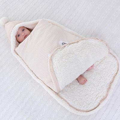 防惊跳羊羔绒睡袋新生儿抱被秋冬彩棉婴儿用品护肚加厚宝宝包被 均码薄 兔子