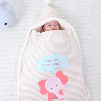 防惊跳羊羔绒睡袋新生儿抱被秋冬彩棉婴儿用品护肚加厚宝宝包被 均码薄 小象