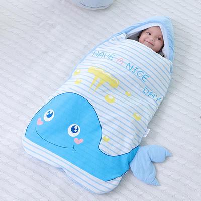 防惊跳仿子宫水洗棉睡袋抱被秋冬彩棉婴儿用品护肚加厚宝宝包被海豚预售 均码薄 快乐小猪
