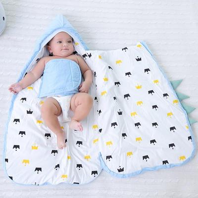 防惊跳仿子宫水洗棉睡袋抱被秋冬彩棉婴儿用品护肚加厚宝宝包被海豚预售 均码薄 小怪兽