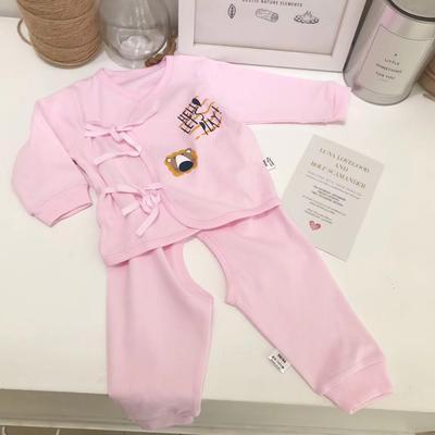 纯棉新生儿精梳棉系带上下套装 52# 粉色