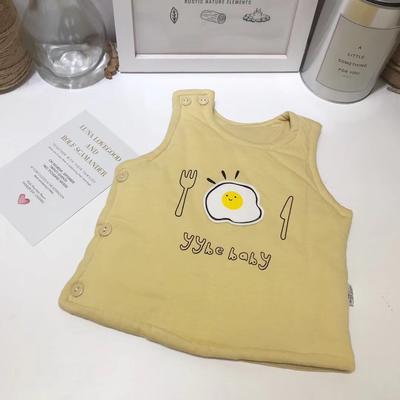 新生儿针织马甲荷包蛋夹棉小背心 59# 黄色