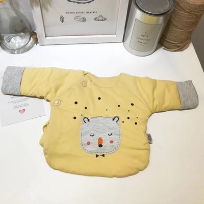 新生儿纯棉针织夹棉半背衣小猫咪 52# 黄色