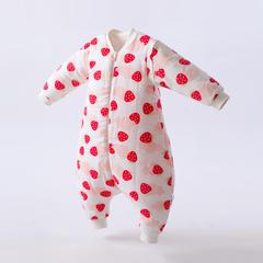 秋冬双层纱布夹棉分腿睡袋 70码 草莓