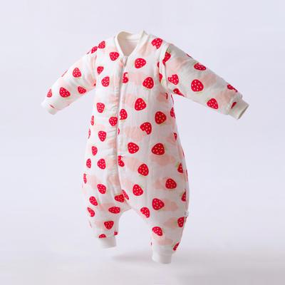 秋冬双层纱布夹棉分腿睡袋 80码 草莓