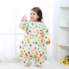 婴儿分腿睡袋春秋薄棉秋冬季加厚中大童四季款宝宝防踢被 活力橙 薄棉L-80cm