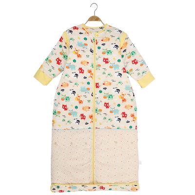 水桶型睡袋 纯棉全棉睡袋可脱胆一年四季可穿 温馨黄夹棉光套s