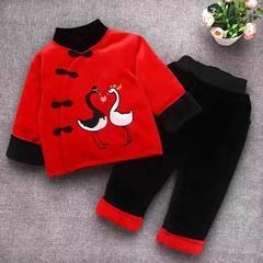 新款冬装红色刺绣加厚保暖拜年服 S-90码 小鹅