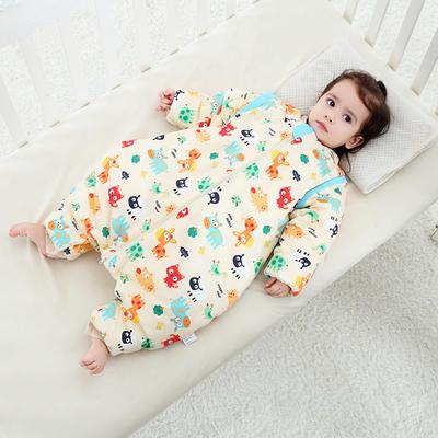 婴儿分腿睡袋春秋薄棉秋冬季加厚中大童四季款宝宝防踢被 活力橙 厚棉XL-95cm
