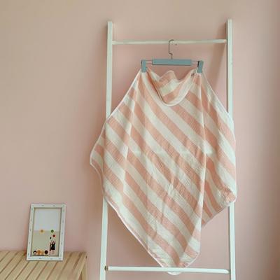 2019新款条纹双层纱布抱被 90*90cm 粉色条纹