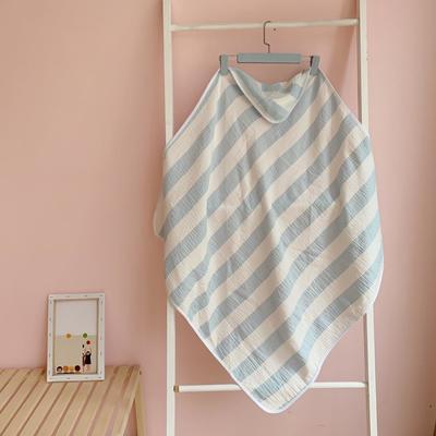 2019新款条纹双层纱布抱被 90*90cm 蓝色条纹