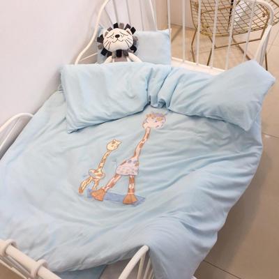 2019新款-针织幼儿园套件系列-love home鹿-单被套120*150cm love home鹿蓝(单被套)