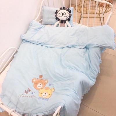 019新款-针织幼儿园套件系列-爱心之旅-单被套((120x150cm)) 爱心之旅 蓝(120x150cm)