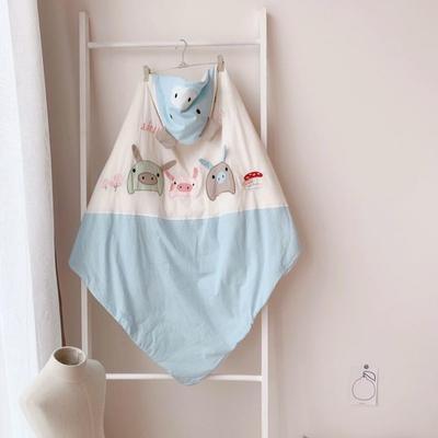 2019新款-三只小猪水洗棉刺绣抱被 其它 蓝色90*90cm