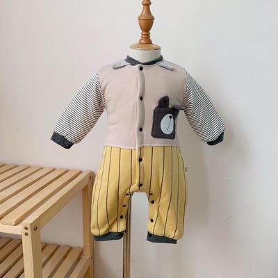 2019新款秋冬款小熊夹厚面连体衣 66码衣长:54cm 黄色小熊